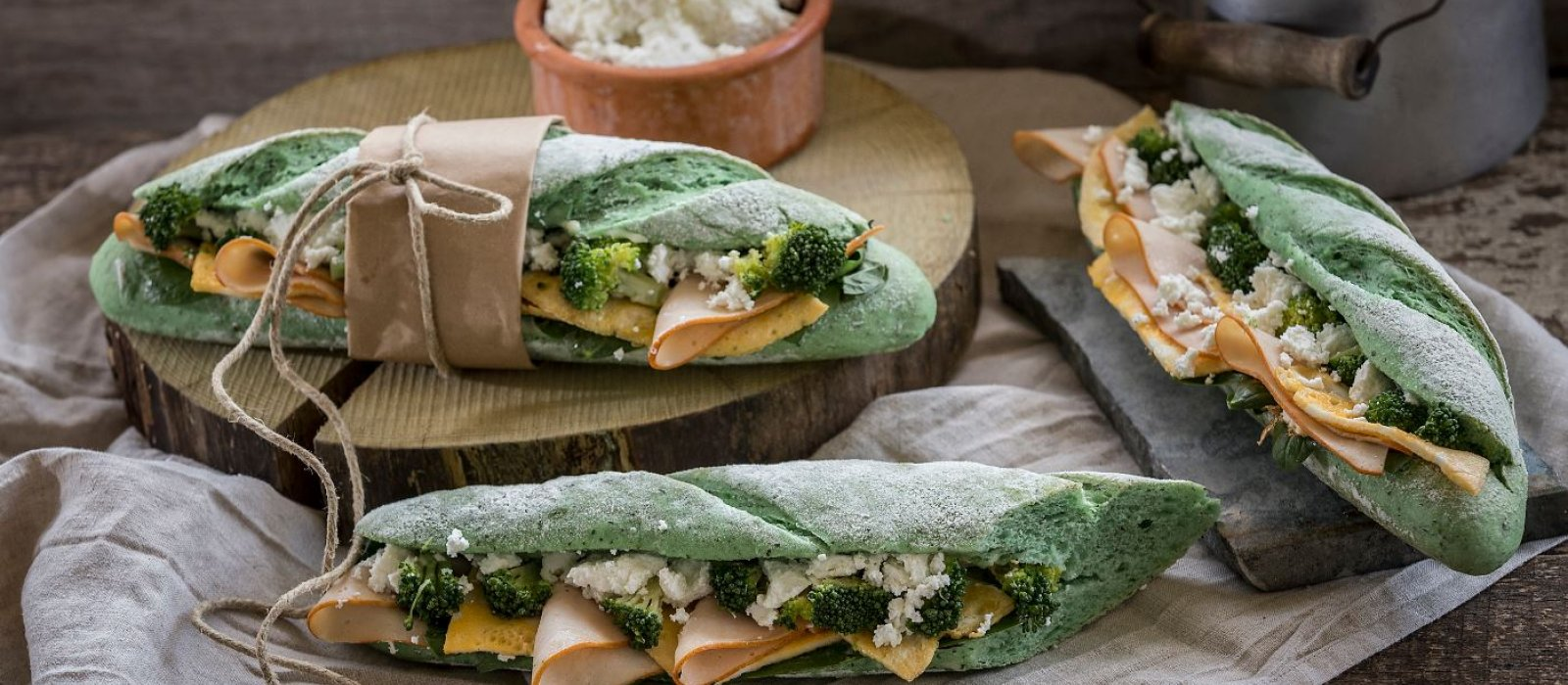 <span>Baguette with Green Tea, Smoked Turkey, Broccoli &amp; Ricotta</span>